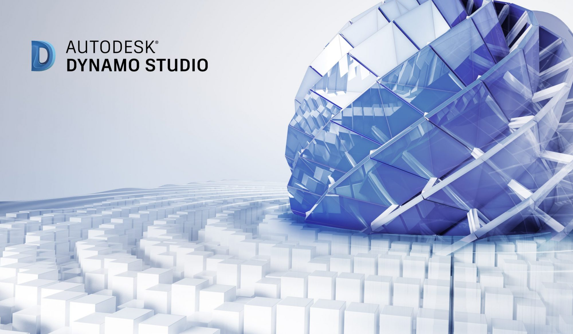 Dynamo Studio 2016 hero image. Rendering of an abstract composition designed and rendered in Autodesk(R) 3ds Max(R) software.